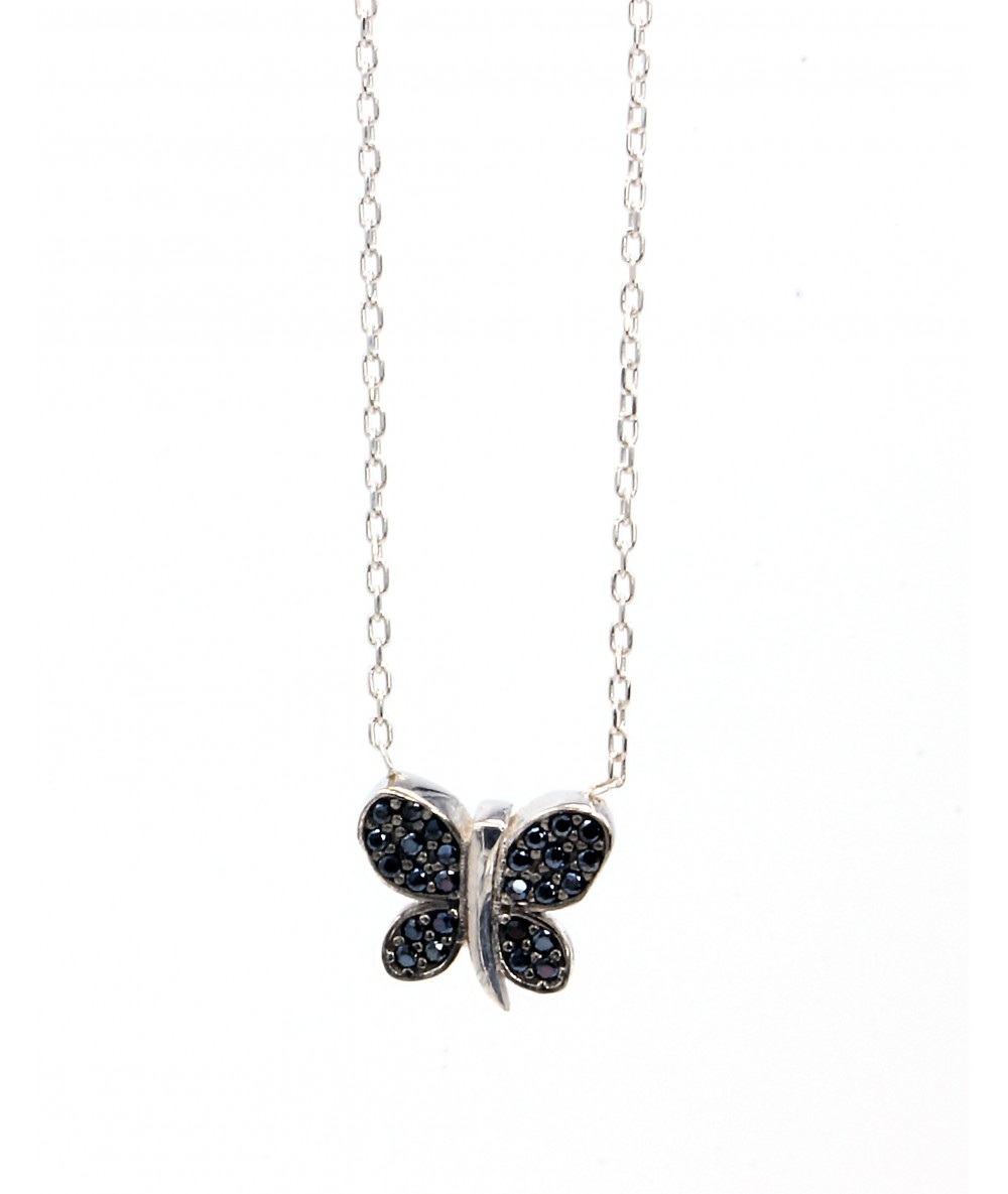 Collier papillon noir