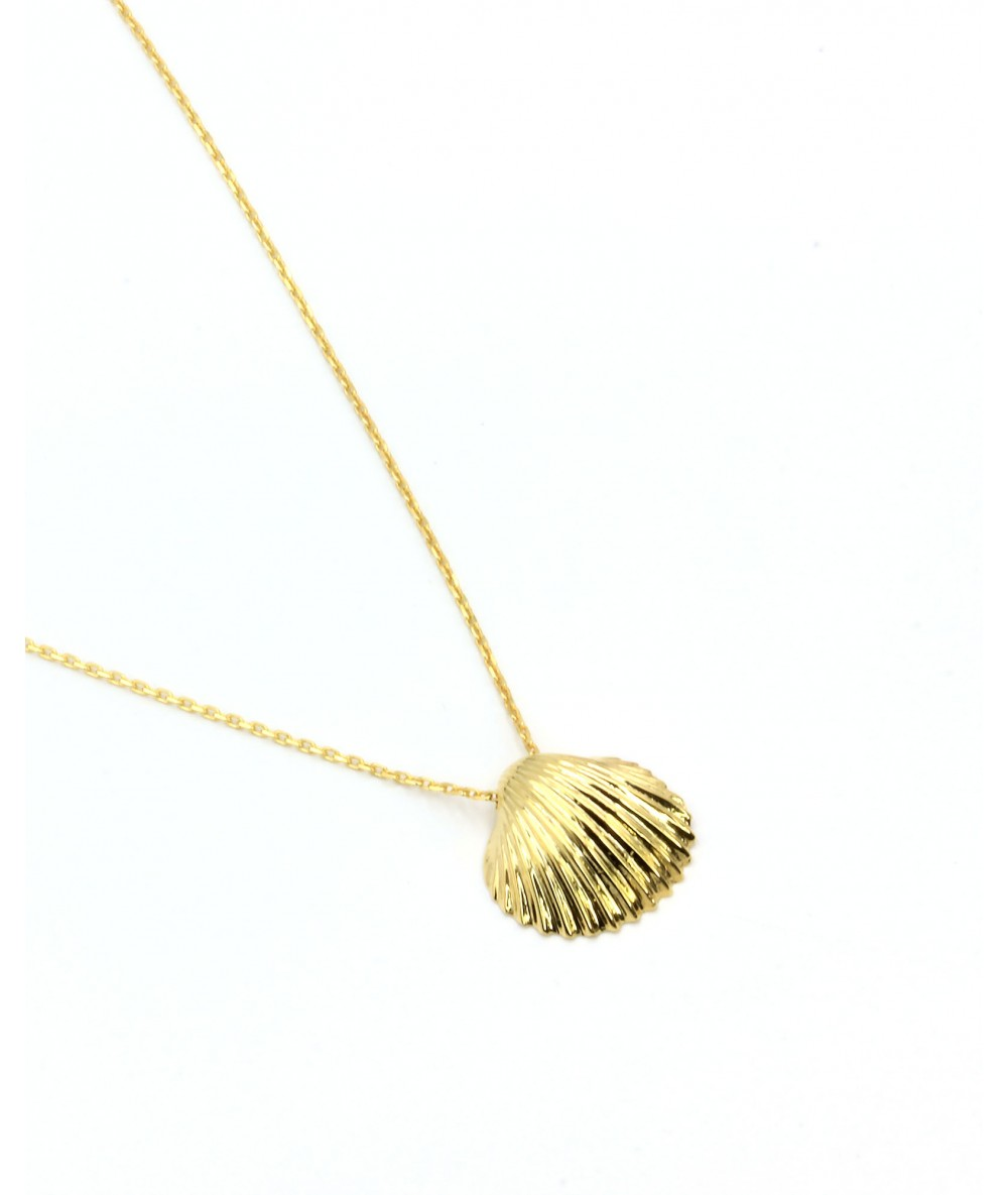 Collier en argent plaqué or coquillage coquille