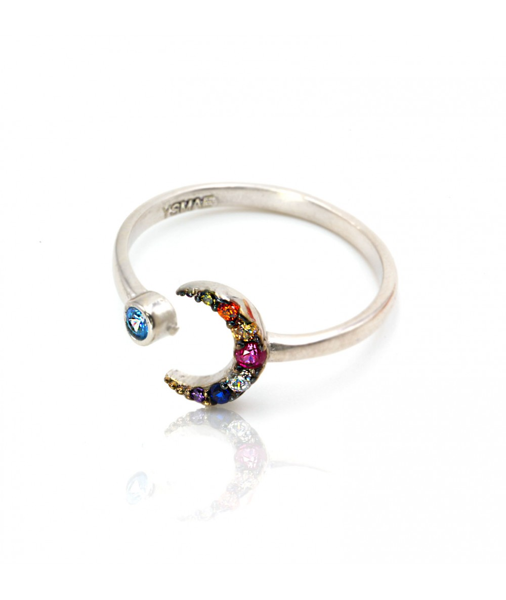 Bague ajustable lune multicolore